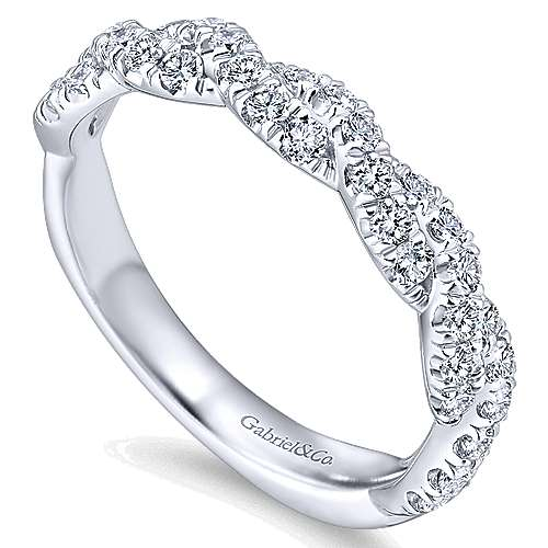 14k White Gold Contemporary Twisted Wedding Band angle 3