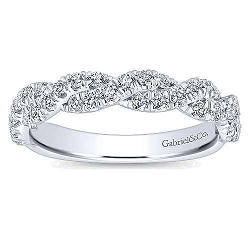 14k White Gold Contemporary Twisted Wedding Band angle 5