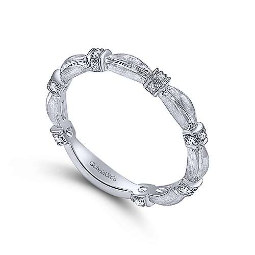 14k White Gold Contoured Diamond Station Stackable Ring