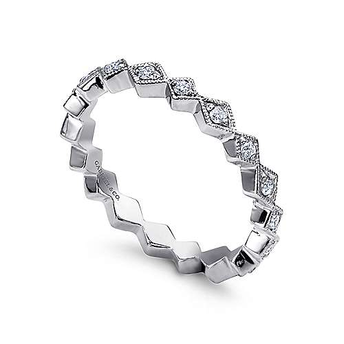 14k White Gold Contoured Diamond Zig Zag Stackable Ring