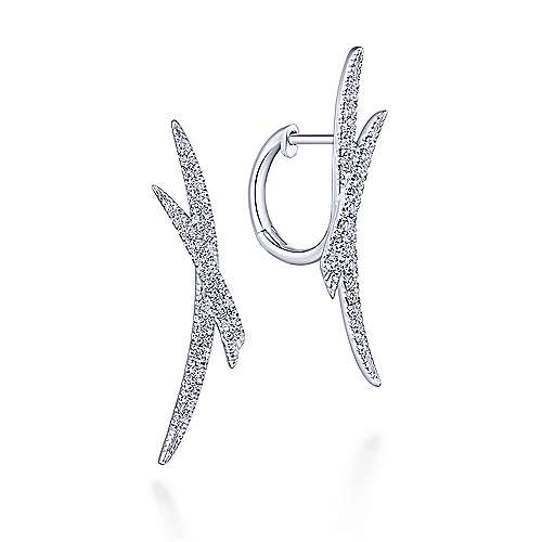 14k White Gold Criss Cross Tapered Diamond Huggie Earrings