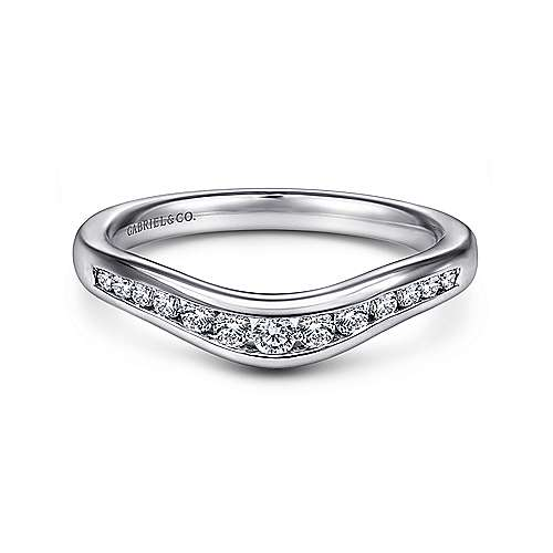 Gabriel - 14k White Gold Curved Channel Set Band
