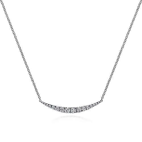 Gabriel - 14k White Gold Curved Diamond Bar Necklace