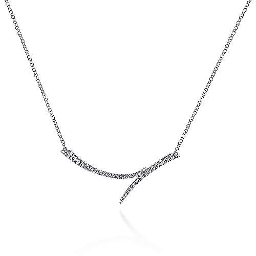 Gabriel - 14k White Gold Curved Double Diamond Bar Necklace