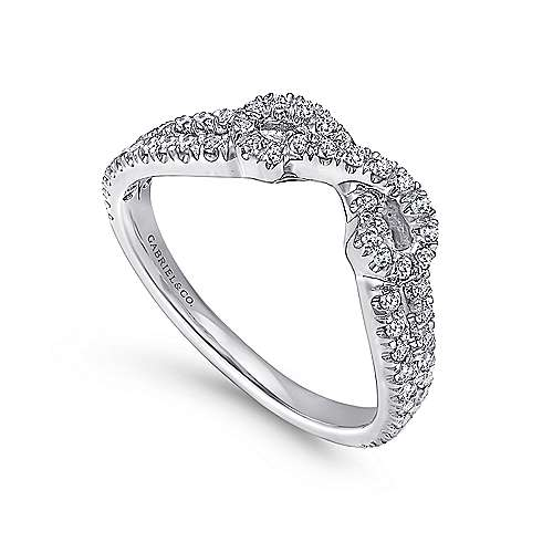 14k White Gold Curved French Pavé Set Band