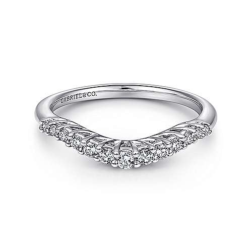 Gabriel - 14k White Gold Curved Shared Prong Band