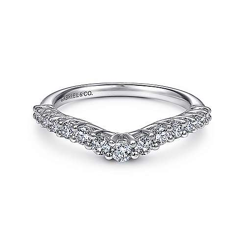 Gabriel - 14k White Gold Curved Shared Prong Set Band