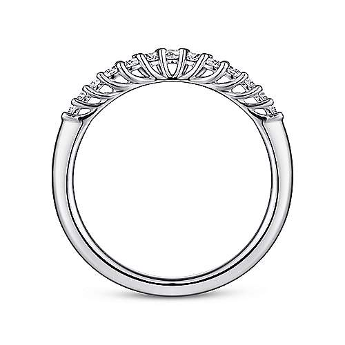 14k White Gold Curved Shared Prong Set Band