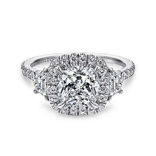 Gabriel - 14k White Gold Cushion Cut 3 Stone Halo Engagement Ring