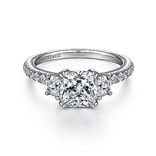 Gabriel - 14k White Gold Cushion Cut 3 Stones Engagement Ring