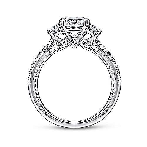 14k White Gold Cushion Cut 3 Stones Engagement Ring angle 2