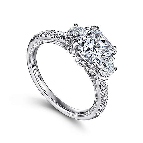 14k White Gold Cushion Cut 3 Stones Engagement Ring angle 3