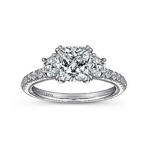 14k White Gold Cushion Cut 3 Stones Engagement Ring angle 5