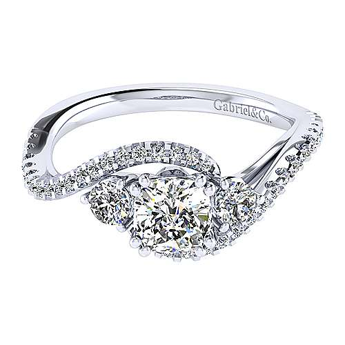 14k White Gold Cushion Cut Bypass Engagement Ring angle 1
