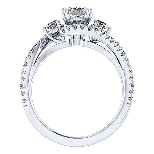 14k White Gold Cushion Cut Bypass Engagement Ring angle 2