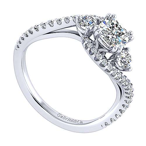14k White Gold Cushion Cut Bypass Engagement Ring angle 3