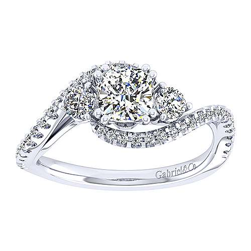 14k White Gold Cushion Cut Bypass Engagement Ring angle 5