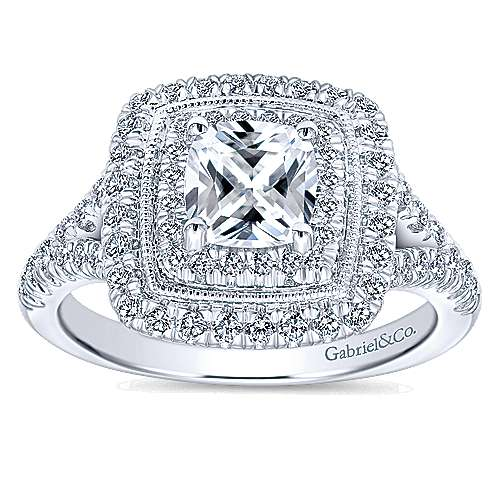 14k White Gold Cushion Cut Double Halo Engagement Ring angle 5