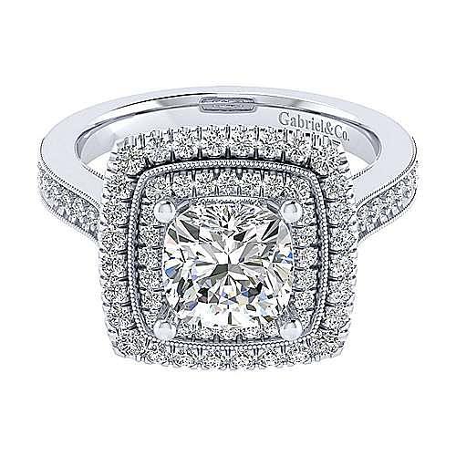14k White Gold Cushion Cut Double Halo Engagement Ring angle 1