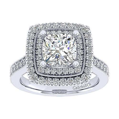 14k White Gold Cushion Cut Double Halo Engagement Ring angle 5