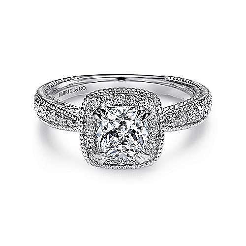 14k White Gold Cushion Cut Halo Engagement Ring angle 1