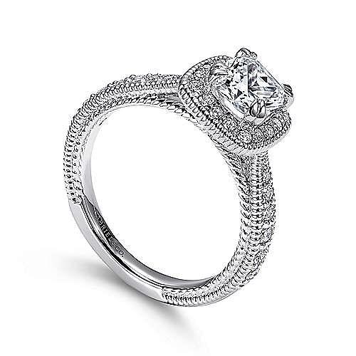 14k White Gold Cushion Cut Halo Engagement Ring angle 3