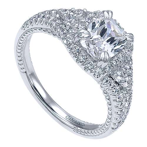 14k White Gold Cushion Cut Halo Engagement Ring angle 3