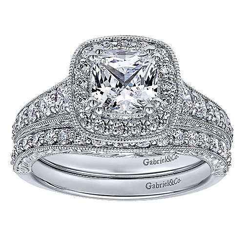 14k White Gold Cushion Cut Halo Engagement Ring angle 4