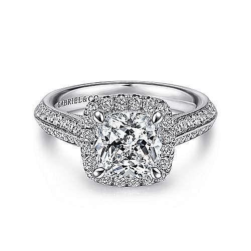 Gabriel - 14k White Gold Cushion Cut Halo Engagement Ring