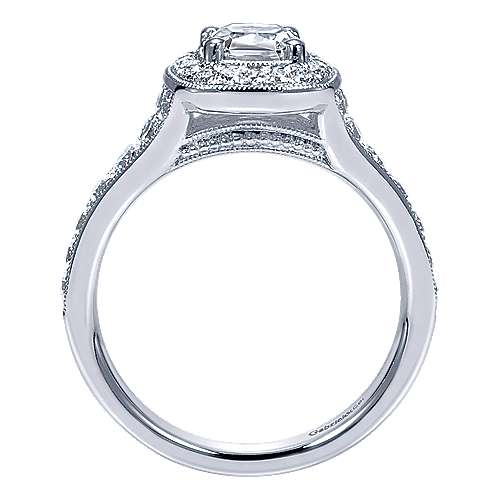 14k White Gold Cushion Cut Halo Engagement Ring angle 2