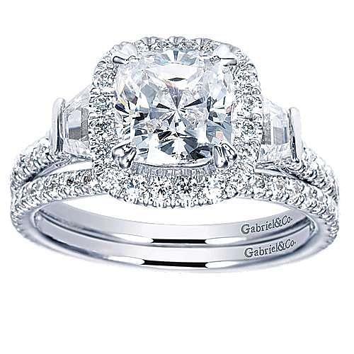 14k White Gold Cushion Cut Halo Engagement Ring angle 4
