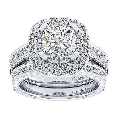 14k White Gold Cushion Cut Perfect Match Engagement Ring angle 4