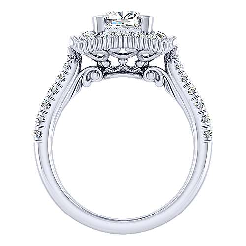 14k White Gold Cushion Cut Perfect Match Engagement Ring angle 2