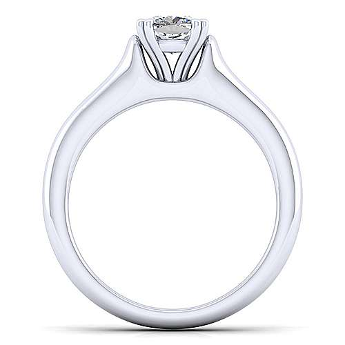 14k White Gold Cushion Cut Solitaire Engagement Ring angle 2