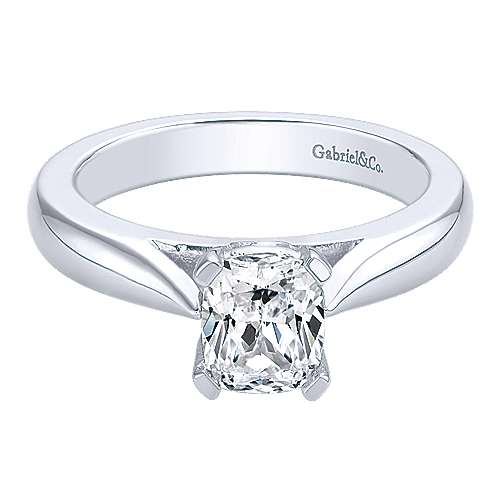 14k White Gold Cushion Cut Solitaire Engagement Ring angle 1