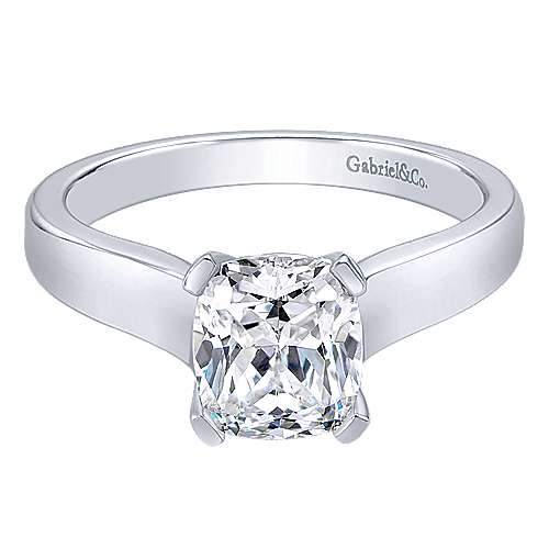 Gabriel - 14k White Gold Cushion Cut Solitaire Engagement Ring