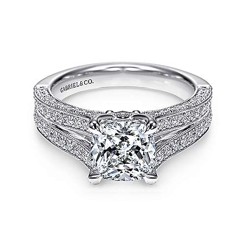 14k White Gold Cushion Cut Split Shank Engagement Ring angle 1