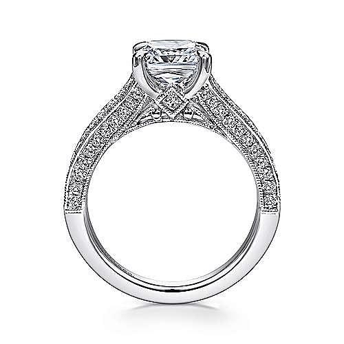14k White Gold Cushion Cut Split Shank Engagement Ring angle 2