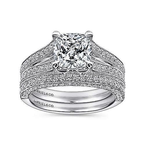 14k White Gold Cushion Cut Split Shank Engagement Ring angle 4