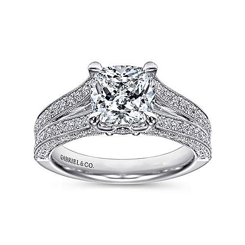 14k White Gold Cushion Cut Split Shank Engagement Ring angle 5