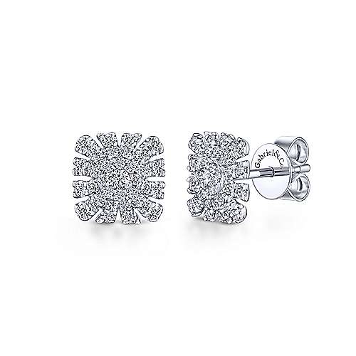 14k White Gold Cushion Cut Starburst Diamond Stud Earrings