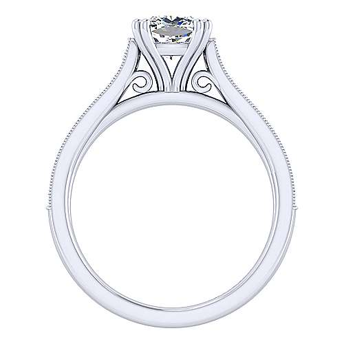 14k White Gold Cushion Cut Straight Engagement Ring angle 2
