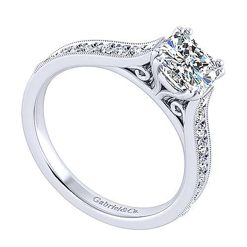 14k White Gold Cushion Cut Straight Engagement Ring angle 3