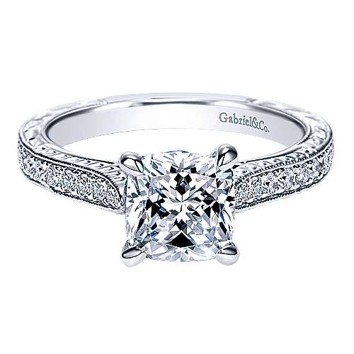 14k White Gold Cushion Cut Straight Engagement Ring angle 1