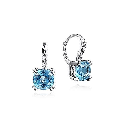 14k White Gold Cushion Cut Swiss Blue Topaz Pave Diamond Drop Earrings