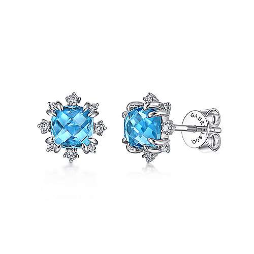 14k White Gold Cushion Cut Swiss Blue Topaz Stud Earrings