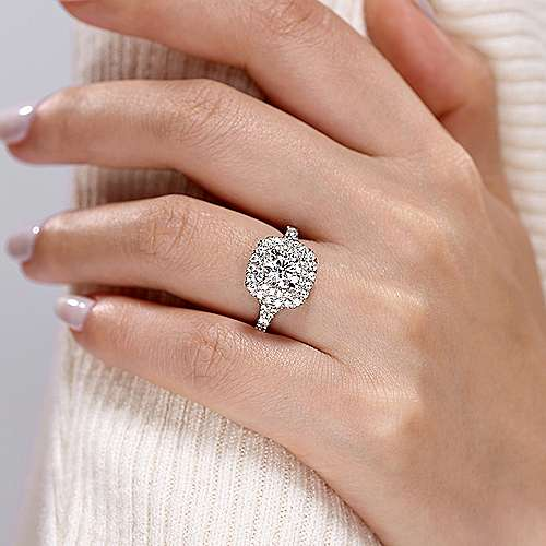14k White Gold Cushion Double Halo Round Diamond Engagement Ring