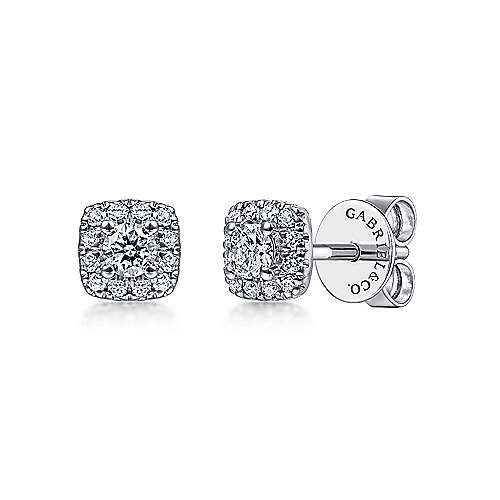 14k White Gold Cushion Halo Round Diamond Stud Earrings