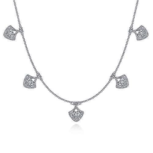 14k White Gold Cutout Diamond Charm Choker Necklace