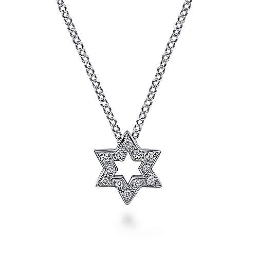 14k White Gold Cutout Pave Diamond Star of David Necklace